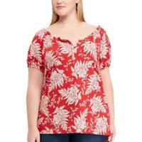 Chaps Womens Red White Short Sleeve Floral Off Shoulder Top Plus Size 2X NWT