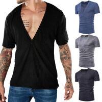 Herren T-Shirt tiefer V-Ausschnitt slimfit Fitness Shirts Tops Basic kurzarm