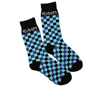 Kubota Branded Chequered Blue/Black Socks