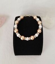 Pearl Bracelet Made With Swarovski Pearls And Rondelles With Gold Filled Clasp