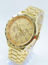 Gold Round 3 Eyes Big Men's Fashion Wrist Watch #7b