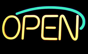 Framed Print – Neon Open Sign Yellow and Green (Picture Poster Shop Cafe Art)