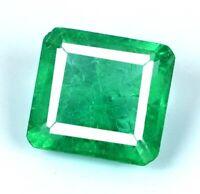 7-9 Carat Zambian Green Emerald Loose Gemstone Natural Emerald Cut AGI Certified