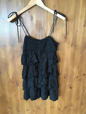 H&M Ruffle Black Longline Tunic Top Vest UK 10 / EUR 38 - VGC