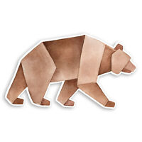 2 x 10cm Brown Bear Origami Vinyl Stickers - Wild Animal Laptop Sticker #20905