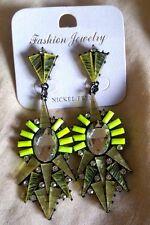 Fashion Statement Earrings Green Diamante Acrylic Rhinestone Dangle Drop Bling