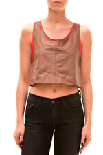 One Teaspoon Womens Unique Short Sleeve Leather Crop Top Multi