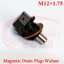 JDM M12X1.75 ENGINE MAGNETIC OIL PAN DRAIN PLUG BOLT SCREW CRUSH M12 WASHER BK