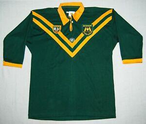 Australian Kangaroos Men's XL 48 Rugby League Classic Shirt Yellow Green
