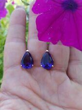 Beautiful Purple African Amethyst Leverback Stud Earrings, 18KRG/925