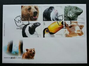 Portugal Zoo Animal 2001 Bear Bird Giraffe Reptile Monkey Wildlife (stamp FDC)
