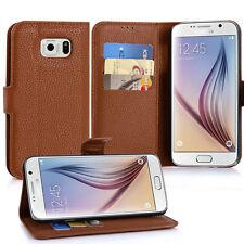 Samsung Galaxy S6 Cover braun Stand Wallet Book Hülle Kunstleder Display Tasche