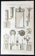 1795 William Henry Hall Antique Mechanical Print Parts, James Watts Steam Engine