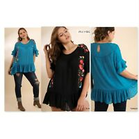 Umgee Womens Floral Embroidered Ruffle Top Layered Bell Sleeves 2 Colors XL