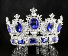 4 INCHES HIGH BEAUTY QUEEN BLUE CRYSTAL RHINESTONE LG TIARA CROWN PAGEANT T2131B