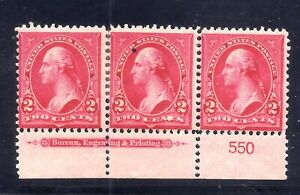 US Stamps - #279B -  MNH - 2 cent Washington Issue - Plate # Strip  - CV $85