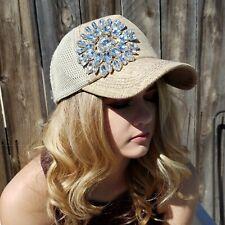 Women Mesh Trucker Style Natural Rhinestone Bling Flower Cap Hat NEW Olive Pique