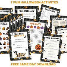 Halloween Activities Games Download - Bingo, Scavenger Hunt , Charades, Quiz ..