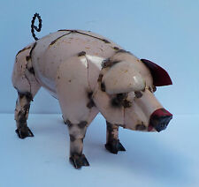 "New listing Metal Art Pink Pig Sculpture Animal Figure 14"" Long"