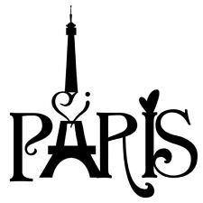 "Black ""I LOVE PARIS"" Eiffel Tower France Wall Art Vinyl Decal Sticker Transfer"