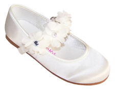 Girls Ivory Satin Ballerina Shoes Flower Girl Bridesmaid Wedding Party Occasion