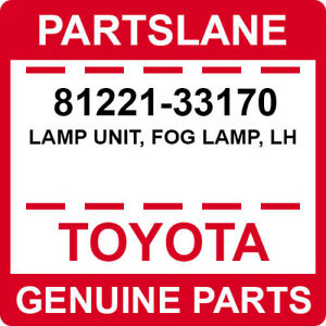 81221-33170 Toyota OEM Genuine LAMP UNIT, FOG LAMP, LH