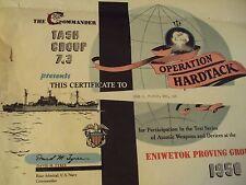 "1958 ORIGINAL Certificate US Navy TASK Group""OPERATION HARDTACK""~Nuclear TESTING"