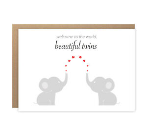 Newborn Twins Greeting Card Baby Twins Birth Card New Parents New Mother