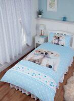 SINGLE BED DUVET COVER SET LUKE & LEIA CUTE PUPPIES LABRADOR RETRIEVER BLUE