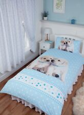 SINGLE BED DUVET COVER SET LUKE & LEIA CUTE PUPPIES LABRADOR RETRIEVER BLUE