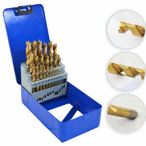 S&R Holzbohrerset 25-tlg: 1-13mm, HSS 4241 Stahl, TiN-Beschichtung, geschliffen