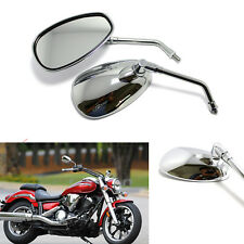 CHROME MOTORCYCLE REAR VIEW MIRRORS LONG STEM FOR HONDA SHADOW  VT750 VT1100 US