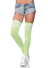 LA-6605 Roller Derby Neon Green Long Athletic White Stripes Thigh High Stockings