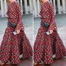 Mode Femme Casual Manche Longue Col Rond Impression Géométrique Robe Dresse Plus