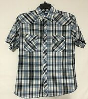 Wrangler Mens Shirt Size L Western Pearl Snap Blue Plaid Short Sleeve