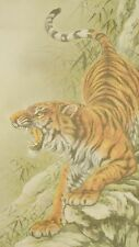 Hanging Scroll Japanese Painting Tiger Japan Antique Picture Art Kakejiku b476
