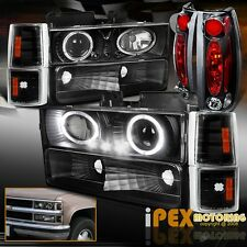 94-98 GMC Sierra Suburban Yukon Halos Projector LED Black Headlight + Tail Light