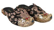 DOLCE & GABBANA Shoes Slides Flat Jacquard Crystal Gold EU37 / US6.5 RRP $5600