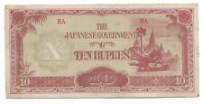 Rare Old Vintage Japanese WWII 1943 Japan War BURMA 10 Rupee Dollar Note WW2 20