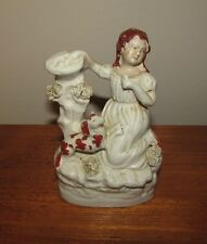 Antique Staffordshire figure girl with small dog 19th