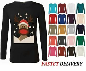 Womens ladies long sleeve stretch plain ROUND scoop NECK t shirt top assorted