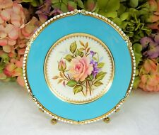 Aynsley Bone China Luncheon Plate ~ Turquoise Gold ~ Tea Rose ~ Signed S Bentley
