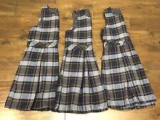 Lot Of 3 Girls Lands End Plaid School Uniform Jumper Navy Pleat Classic Sz 10