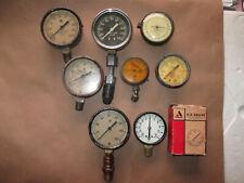 8 Vintage Antique Gauges DeVilbiss Motometer USG Federal Nordgren - Steampunk