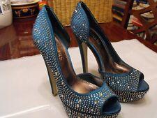 Bakers Womens Ladies Teel Beaded Peep Toe Platform Stiletto Heels Shoes Sz 5.5M