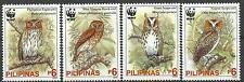 Philippines 2004 Endangered Owl set of 4 with WWF Logo MNH