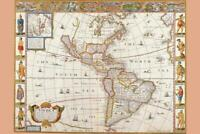 Antique Map of the New World 1626 Cool Wall Decor Art Print