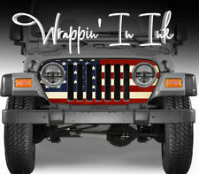 Jeep Grill Wrap American Flag Vinyl Graphics for Jeep Wrangler 1997-2006