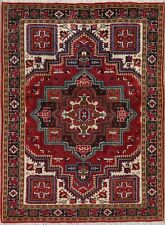 New Geometric Heriz Serapi Area Rug Wool Hand-Knotted Traditional Carpet 5'x7'