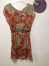 Womens belted dress size XL orange beige floral lined Madison 175